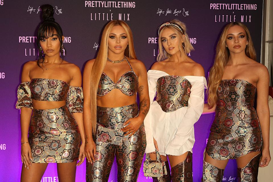 Perrie Edwards, Jesy Nelson, Leigh-Anne Pinnock and Jade Thirlwall attend the launch of the PrettyLittleThing x Little Mix collection at Aynhoe Park House on November 6, 2019 in Banbury, England.  (Photo by David M. Benett/Dave Benett/Getty Images)