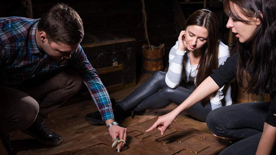 figuring out puzzle in escape room