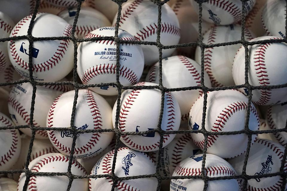 A view of baseballs prior to a game in Miami.