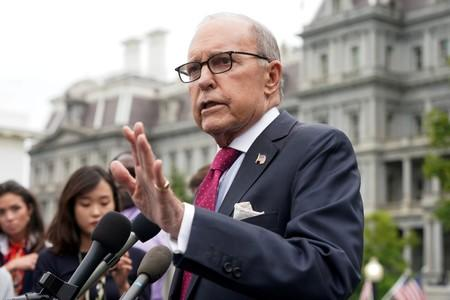FILE PHOTO: White House economic adviser Larry Kudlow speaks to the media at the White House in Washington