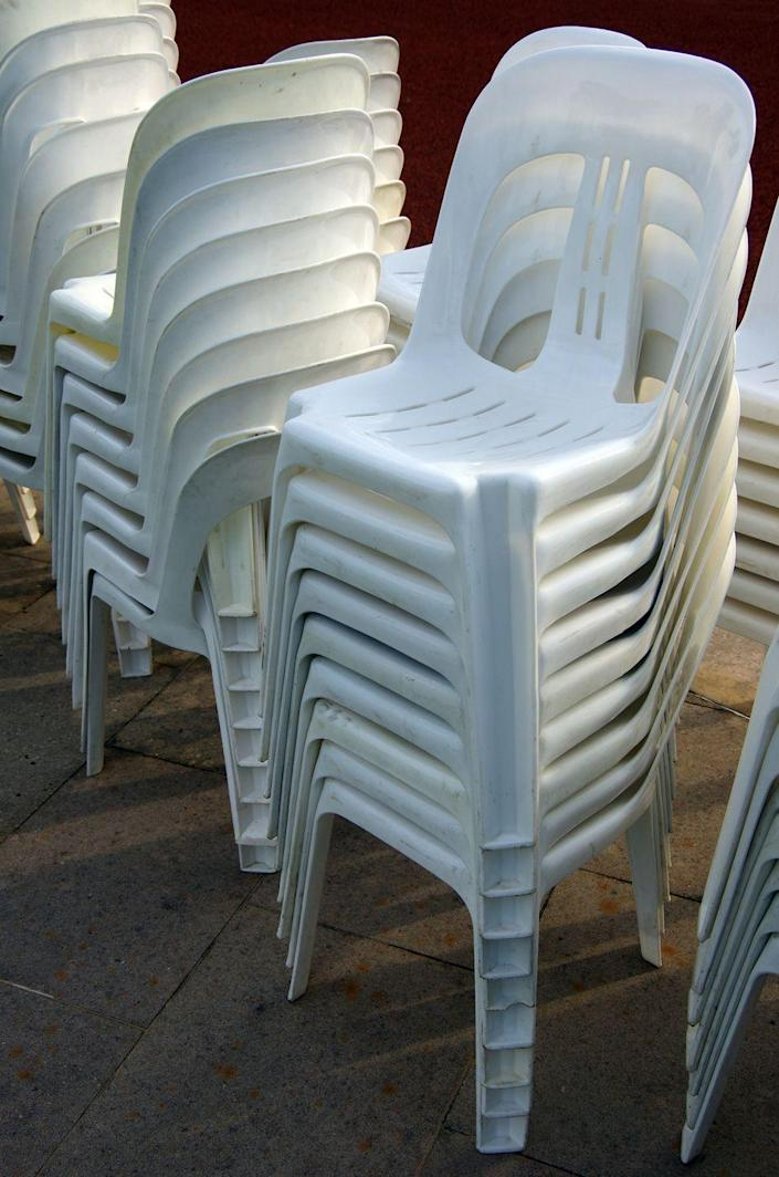 <p>A blanket term for the most common chair in the world, the Monobloc refers to that kind of stacking, white plastic chair abundant from Iowa to India. Notoriously cheap to manufacture, the seat's origins are murky: Some trace it to designs by Canadian designer D.C. Simpson in 1946, others to Joe Colombo's 1960s Chair Universal 4867, and still others credit French engineer Henry Massonnet's 1972 Fauteuil 300. In all likelihood, the chair had many starting points—just as it has thousands of iterations today. </p>
