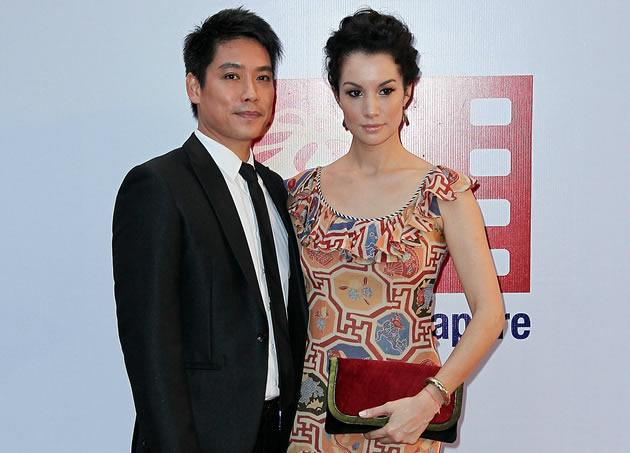Ex-national swimmer Desmond Koh and his wife Nadya Hutagalung during last year's ScreenSingapore. (Getty Images)