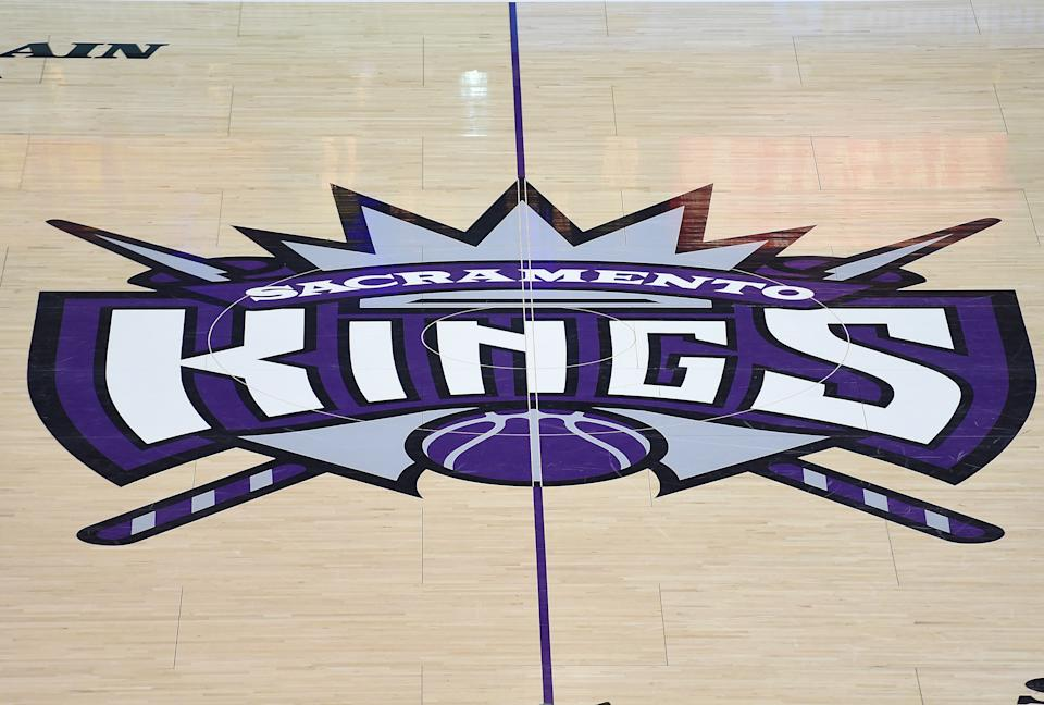 SACRAMENTO, CA - DECEMBER 15:  A detailed view of the Sacramento Kings logo at center court at Sleep Train Arena during an NBA basketeball game between the Houston Rockets and Sacramento Kings on December 15, 2015 in Sacramento, California. NOTE TO USER: User expressly acknowledges and agrees that, by downloading and or using this photograph, User is consenting to the terms and conditions of the Getty Images License Agreement.  (Photo by Thearon W. Henderson/Getty Images)