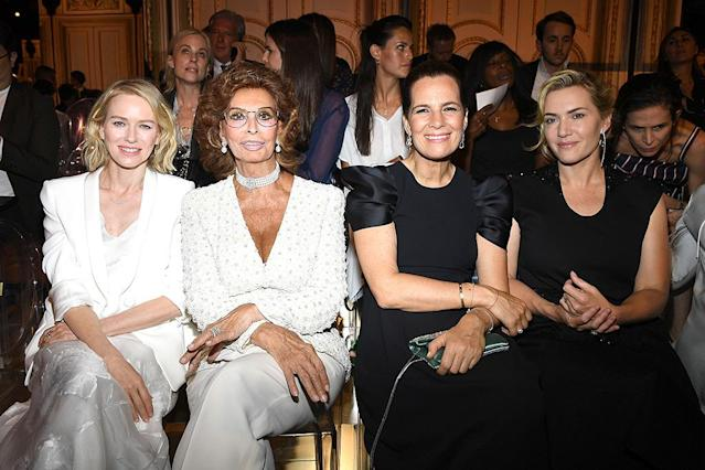<p>The front rows of fashion shows are often star-studded, but this is impressive! A recognizable trio of actresses sat with Roberta Armani, the niece of designer Giorgio Armani, in the front row at the Armani Privé show. (Photo: Pascal Le Segretain/Getty Images) </p>