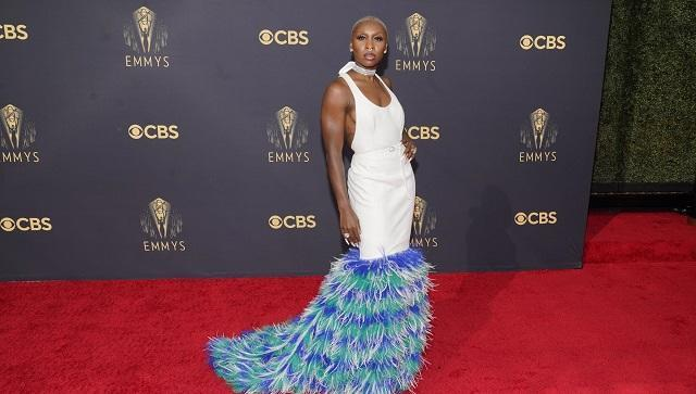 Cynthia Erivo brought it in a set of long white nails, that matched with her platinum buzz cut hair, in turn coordinating with her white gown (AP Photo/Chris Pizzello)