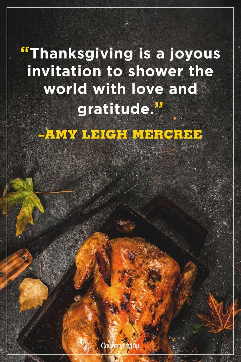 """<p>""""Thanksgiving is a joyous invitation to shower the world with love and gratitude.""""</p>"""