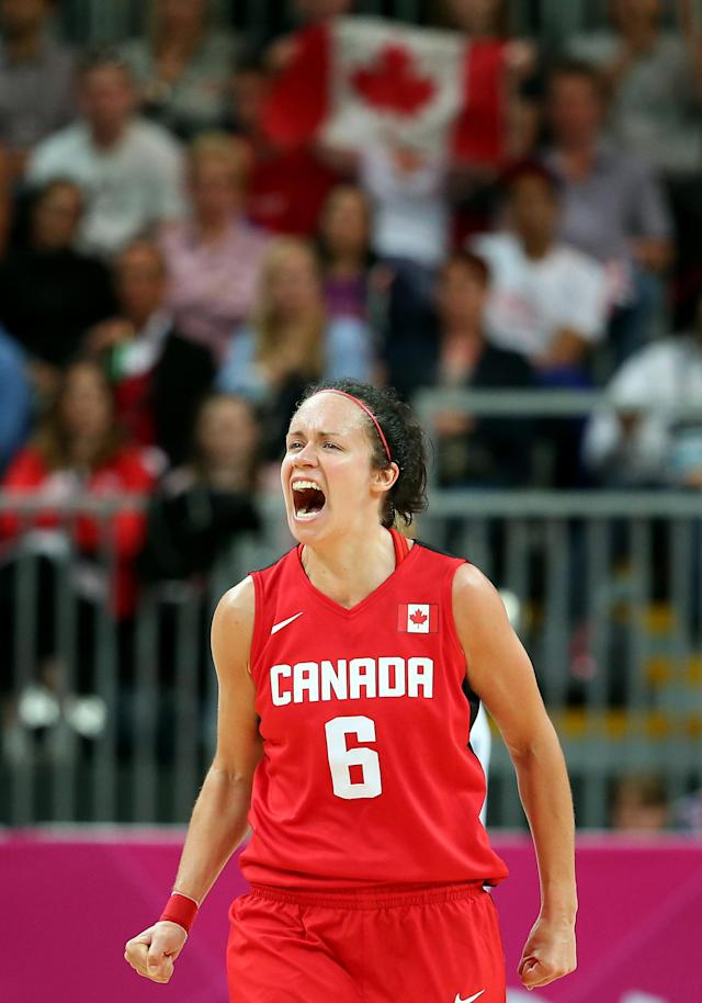 LONDON, ENGLAND - JULY 30: Shona Thorburn #6 of Canada celebrates after defeating Great Britain in the Women's Basketball Preliminary Round match on Day 3 at Basketball Arena on July 30, 2012 in London, England. (Photo by Christian Petersen/Getty Images)