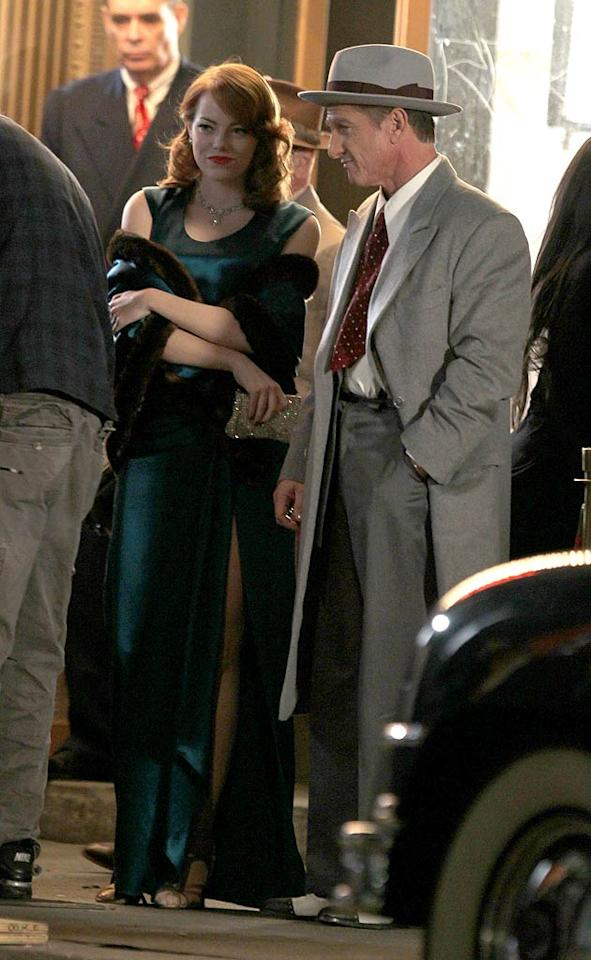 """Emma Stone and Sean Penn donned '40s garb as they shot a scene for their upcoming mobster flick """"Gangster Squad"""" in downtown Los Angeles on Thursday. (11/3/2011)"""