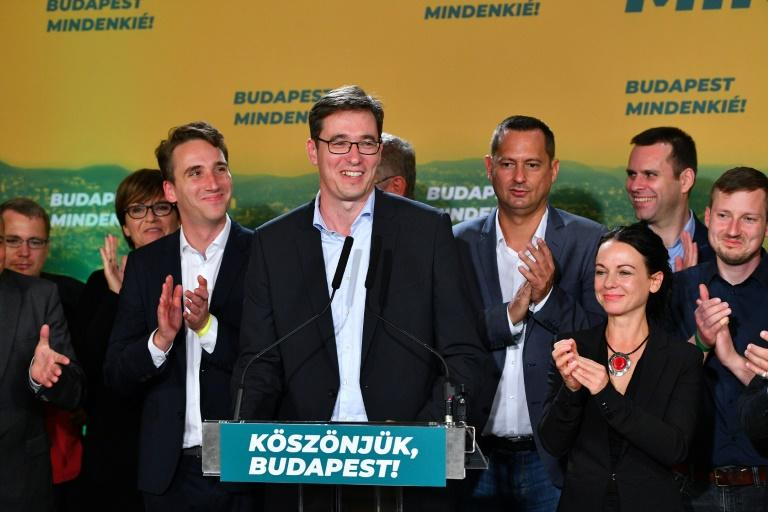 Budapest's mayor candidate of the centre left opposition party Gergely Karacsony celebrates his shock victory in the local election