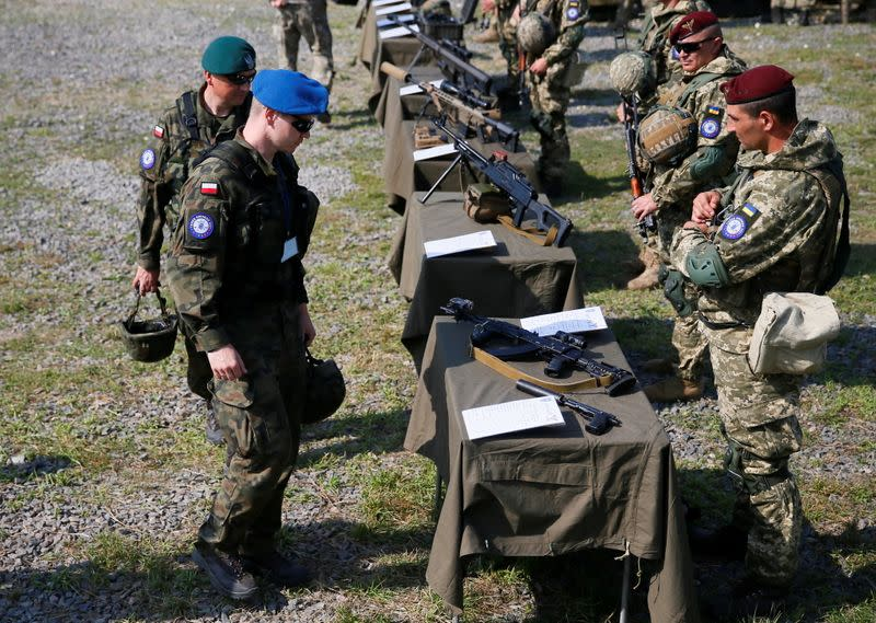 """Servicemen from Ukraine, U.S., Poland and Lithuania take part in the """"Three Swords-2021"""" military exercise in Lviv region"""