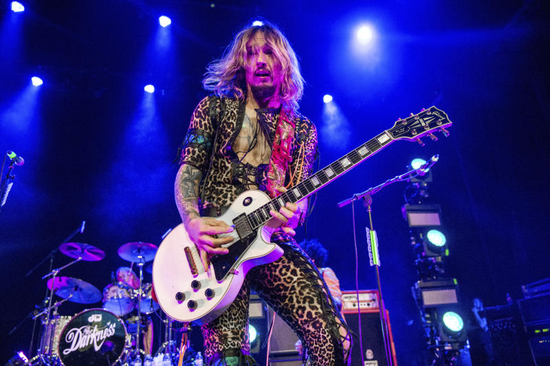 Justin Hawkins of The Darkness performs at the Civic Theatre on Monday, April 30, 2018, in New Orleans. (Photo by Amy Harris/Invision/AP)