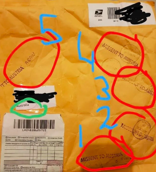 "The five separate stamps are circled in the image, with ""AGAIN"" written next to the fifth ""Missent to Austria"" stamp. Source: Reddit"