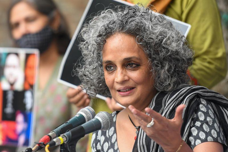 Indian author and activist Arundhati Roy speaks during a press conference on the Supreme Court's recent opinion on public protests, in which it said public places can't be occupied indefinitely, in New Delhi on October 22, 2020.