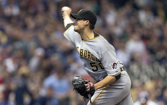 Pittsburgh Pirates' Charlie Morton pitches to a Milwaukee Brewers batter during the first inning of a baseball game on Sunday, April 13, 2014, in Milwaukee. (AP Photo/Tom Lynn)