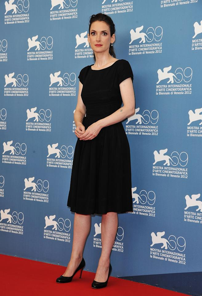 "VENICE, ITALY - AUGUST 30:  Actress Winona Ryder attends ""The Iceman"" photocall during the 69th Venice Film Festival at the Palazzo del Casino on August 30, 2012 in Venice, Italy.  (Photo by Pascal Le Segretain/Getty Images)"