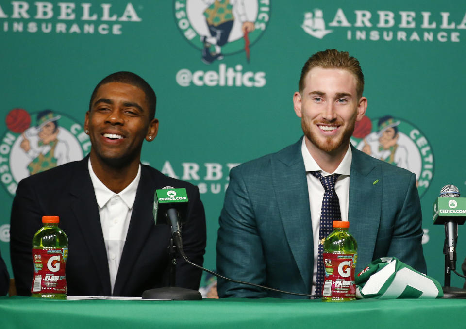The Celtics introduced Kyrie Irving and Gordon Hayward to Boston on Friday. (AP)
