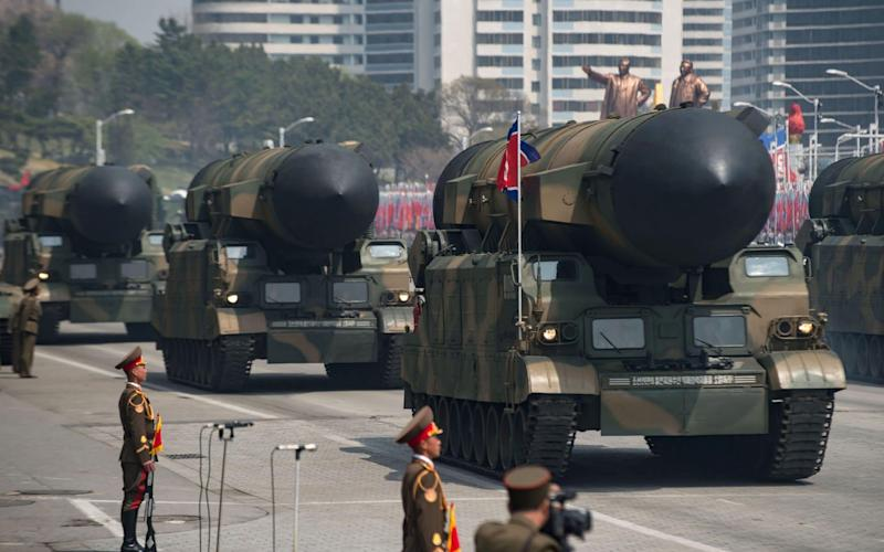 First sighting: the parade featured what is thought to be the new KN-14 intercontinental ballistic missile - AFP