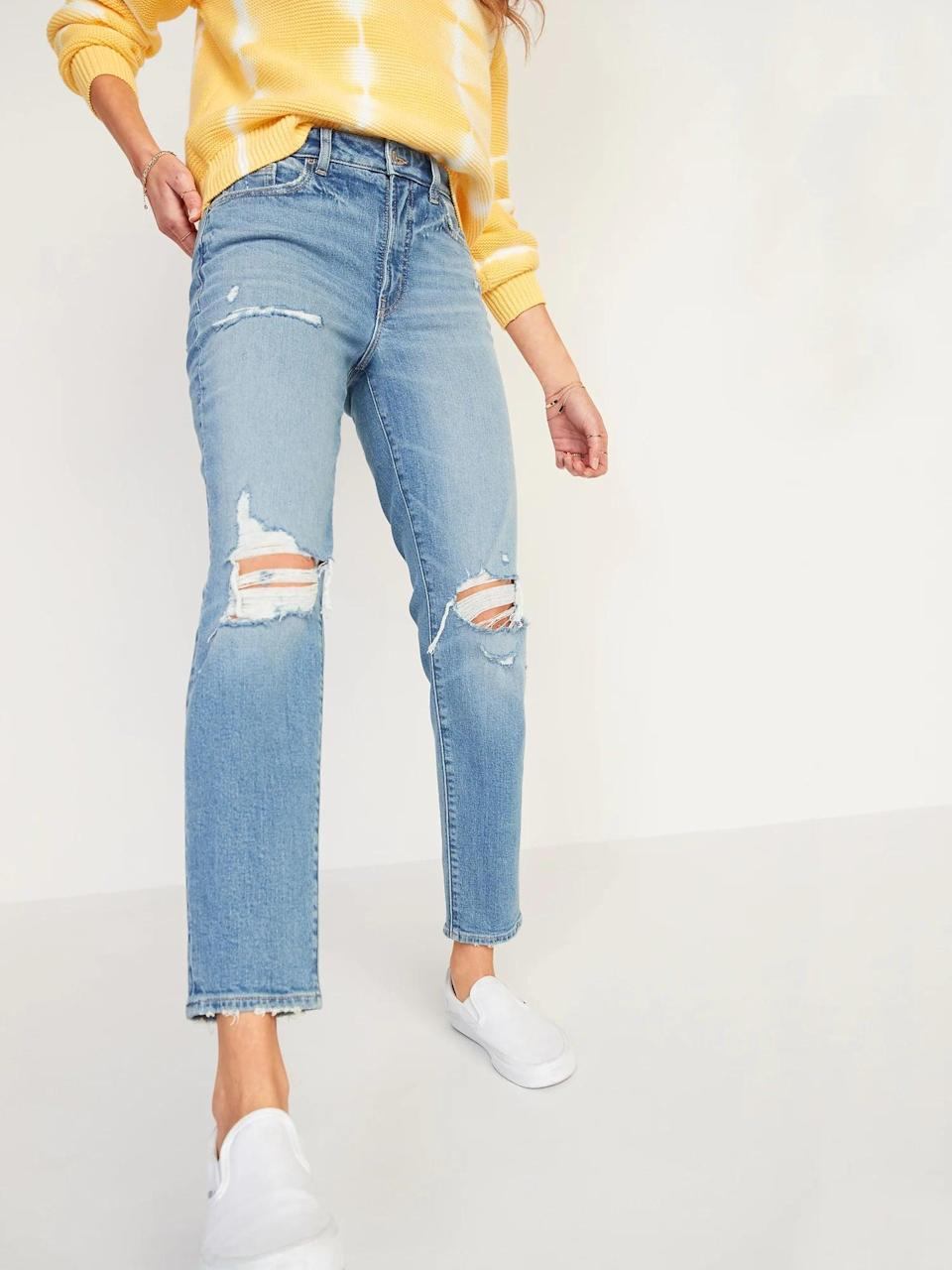 """<p>""""Usually if I spend a day sitting in jeans they end up digging into my skin. After an entire workday sitting at my laptop, these <span>Old Navy High-Waisted O.G. Straight Light-Wash Ripped Jeans</span> ($45, originally $49) not only held up their shape, but there were no marks on my hips from them. Zero."""" - Rebecca Brown, senior contributing editor</p>"""