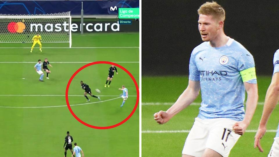 Kevin De Bruyne (pictured right) celebrating after scoring a long-range goal (pictured left) in the Champions League.