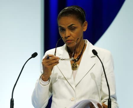 Presidential candidate Marina Silva of Brazilian Socialist Party takes part in a TV debate in Sao Paulo