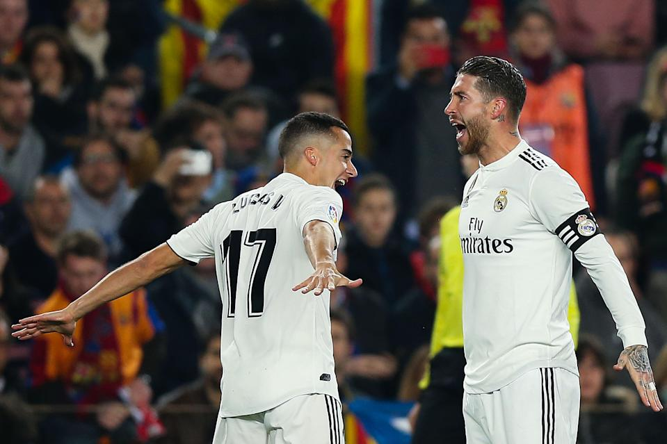 Lucas Vazquez (left), Sergio Ramos and Real Madrid left the Nou Camp with an away goal, the latest positive step in a season that's turned around over the past few months. (Getty)