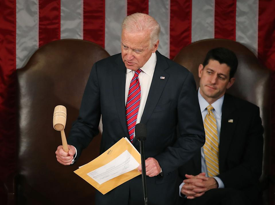 U.S. Vice President Joseph Biden, reacts to an objection while presiding over the counting of the electoral votes from the 2016 presidential election, during a joint session of Congress, on January 6, 2017 in Washington, DC. It was confirmed that President-elect Donald Trump won the election with 304 electoral votes to Hillary Clinton's 227. (Mark Wilson/Getty Images)
