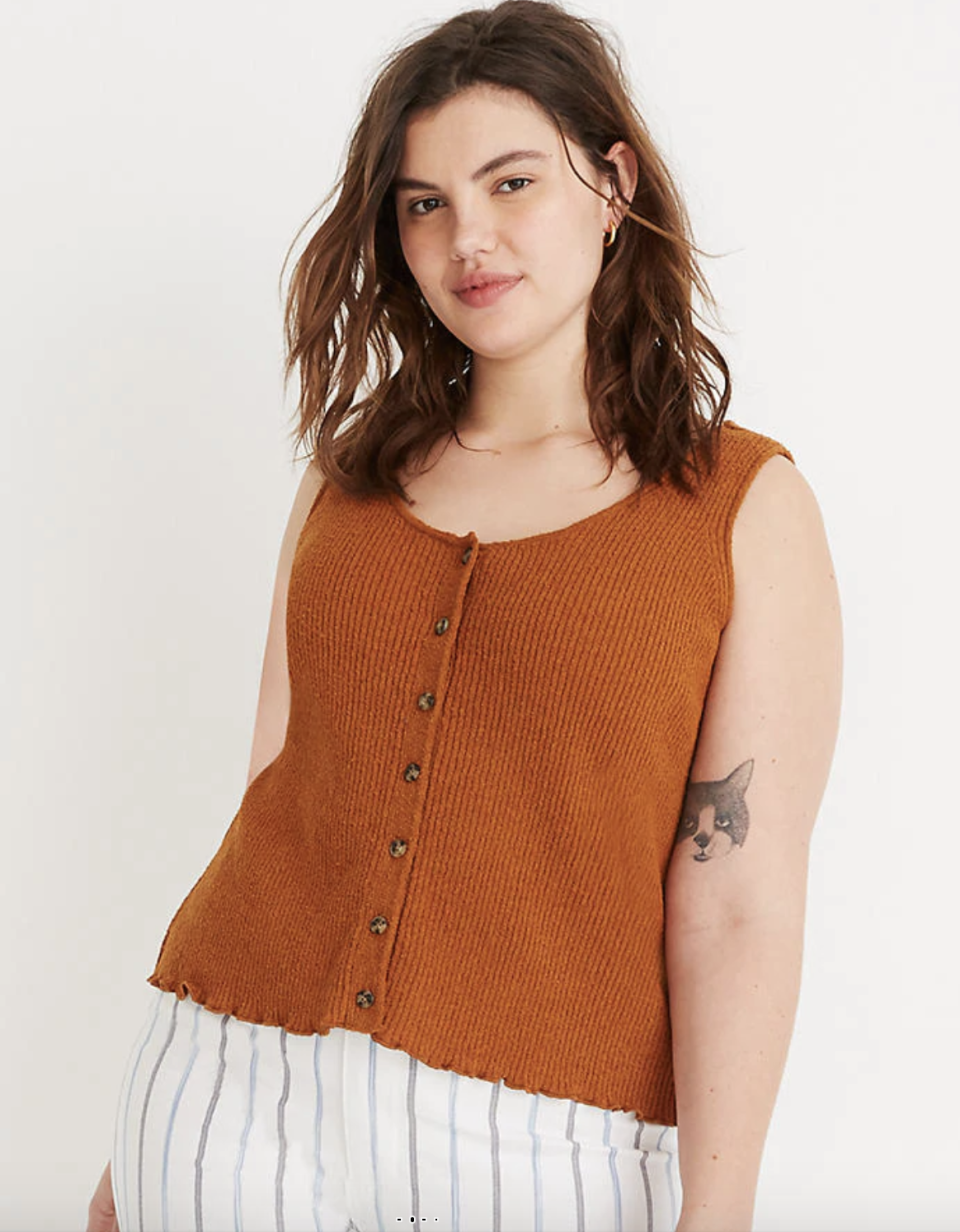 """<p><strong>Madewell</strong></p><p>madewell.com</p><p><strong>$29.99</strong></p><p><a href=""""https://go.redirectingat.com?id=74968X1596630&url=https%3A%2F%2Fwww.madewell.com%2Fkingston-button-front-sweater-tank-L5283.html&sref=https%3A%2F%2Fwww.seventeen.com%2Ffashion%2Fg32730536%2Fbest-sweaters-for-women%2F"""" rel=""""nofollow noopener"""" target=""""_blank"""" data-ylk=""""slk:Shop Now"""" class=""""link rapid-noclick-resp"""">Shop Now</a></p><p>Summer sweaters are so in! Pair with white cut-offs for a cozy vibe. </p>"""
