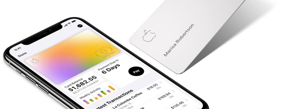 apple card 2021 phone and card on white background