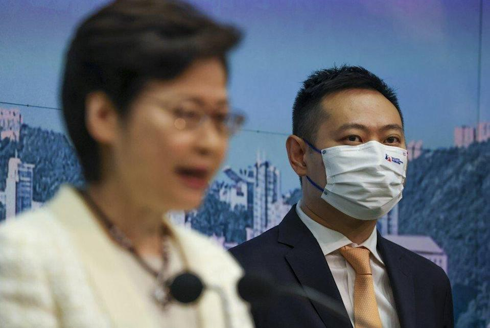 From left: Chief Executive Carrie Lam Cheng Yuet-ngor and Secretary for Home Affairs Caspar Tsui Ying-wai. Photo: SCMP / Nora Tam