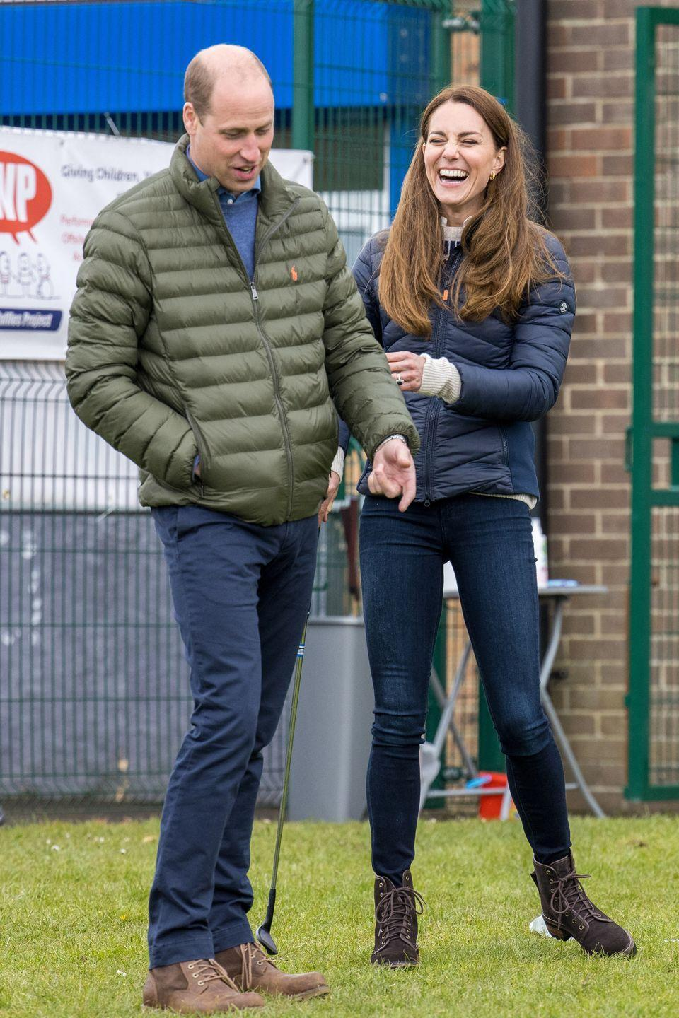 <p>The Duke and Duchess of Cambridge Duchess couldn't contain their laughter during their visit to the Belmont Community Centre in Durham on April 27. </p><p>At one point, they even tried their hand at golf while meeting young people supported by the Cheesy Waffles Project. </p><p>The couple will celebrate their 10th wedding anniversary on Thursday, April 29. </p>