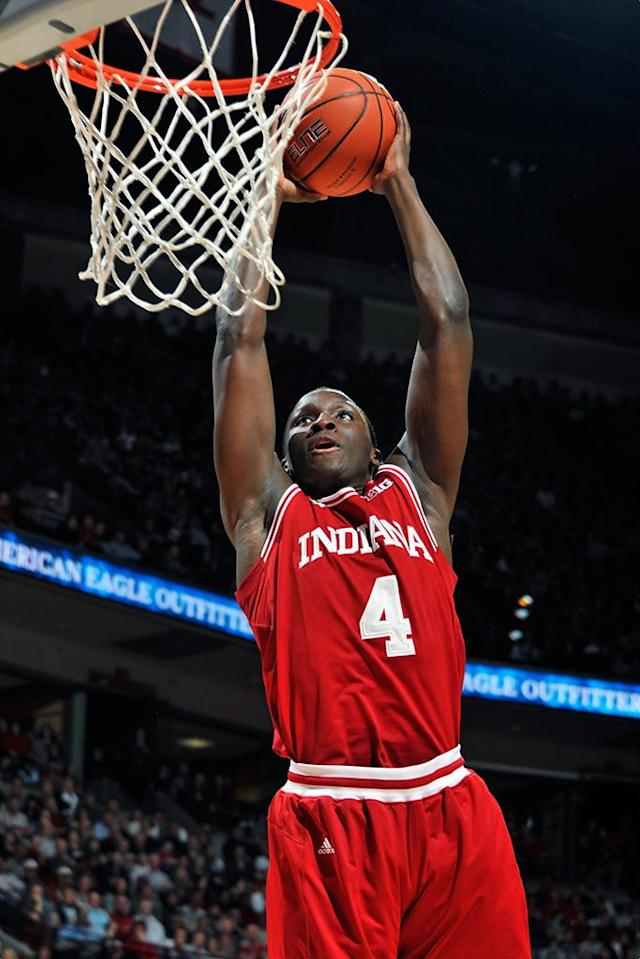 Victor Oladipo #4 of the Indiana Hoosiers soars in to slam dunk a rebound in the first half against the Ohio State Buckeyes on February 10, 2013 at Value City Arena in Columbus, Ohio. (Photo by Jamie Sabau/Getty Images)