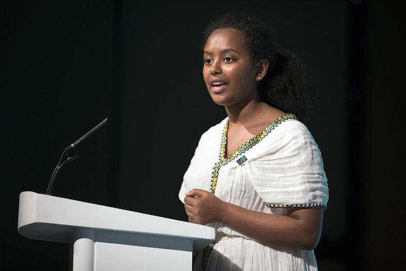 National Ambassador to Ethiopia Hannah Godefa delivers speech at Girl Summit in London 2014