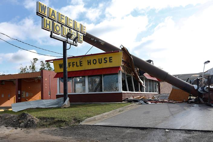 <p>A Waffle House damaged by Hurricane Michael is seen in Callaway, Fla., Oct. 11, 2018. (Photo: Jonathan Bachman/REUTERS) </p>