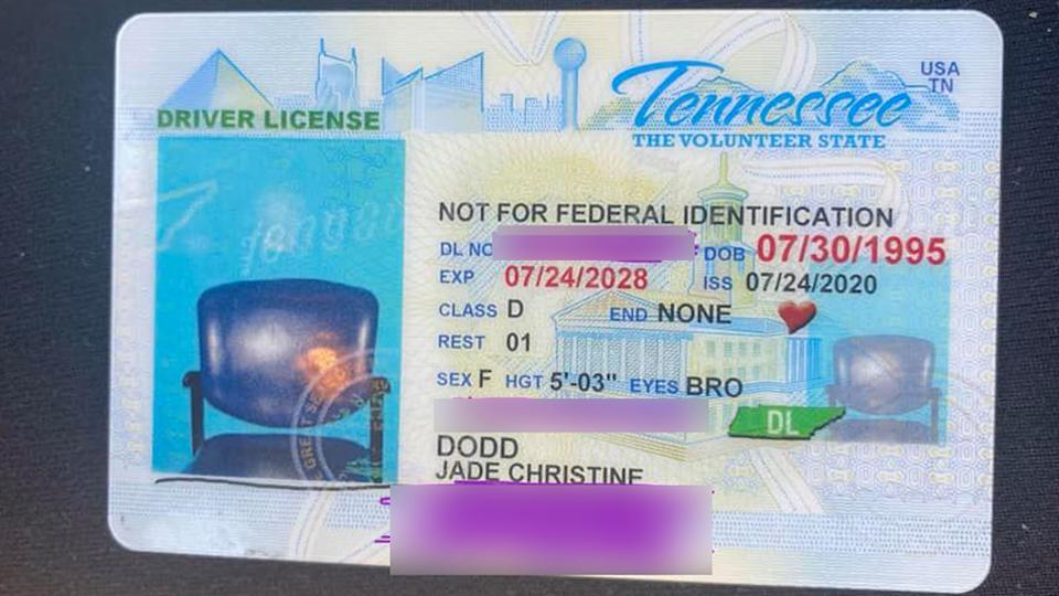Jade Dodd got her new license with a photo of a chai in it instead of her picture.