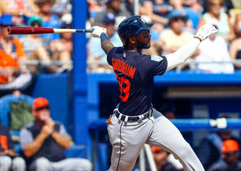 Detroit Tigers second baseman Niko Goodrum (28) hits a two run homer in the third inning of a spring training baseball game against the Toronto Blue Jays at Dunedin Stadium on Feb. 23, 2019.
