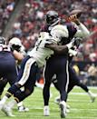 <p>Houston Texans quarterback Brock Osweiler is hit by San Diego Chargers' Melvin Ingram as he throws during the first half of an NFL football game Sunday, Nov. 27, 2016, in Houston. (AP Photo/Eric Christian Smith) </p>