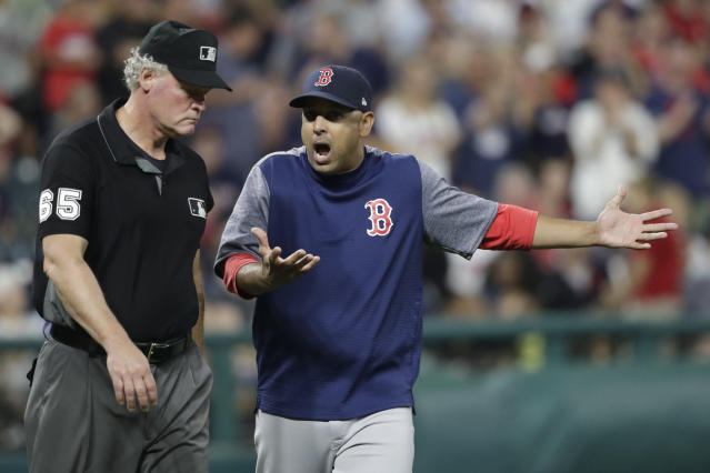 Red Sox manager Alex Cora is tired of position players pitching and has a wild idea aimed at limiting its frequency. (AP Photo/Tony Dejak)