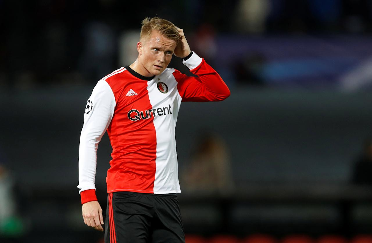 Soccer Football - Champions League - Feyenoord vs Manchester City - De Kuip, Rotterdam, Netherlands - September 13, 2017   Feyenoord's Sam Larsson looks dejected after the match    Action Images via Reuters/Carl Recine