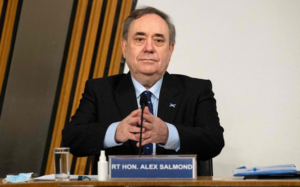 Former Scottish National Party leader and former First Minister of Scotland, Alex Salmond prepares to give his opening statement to The Committee on the Scottish Government Handling of Harassment Complaints at Holyrood  -  AFP