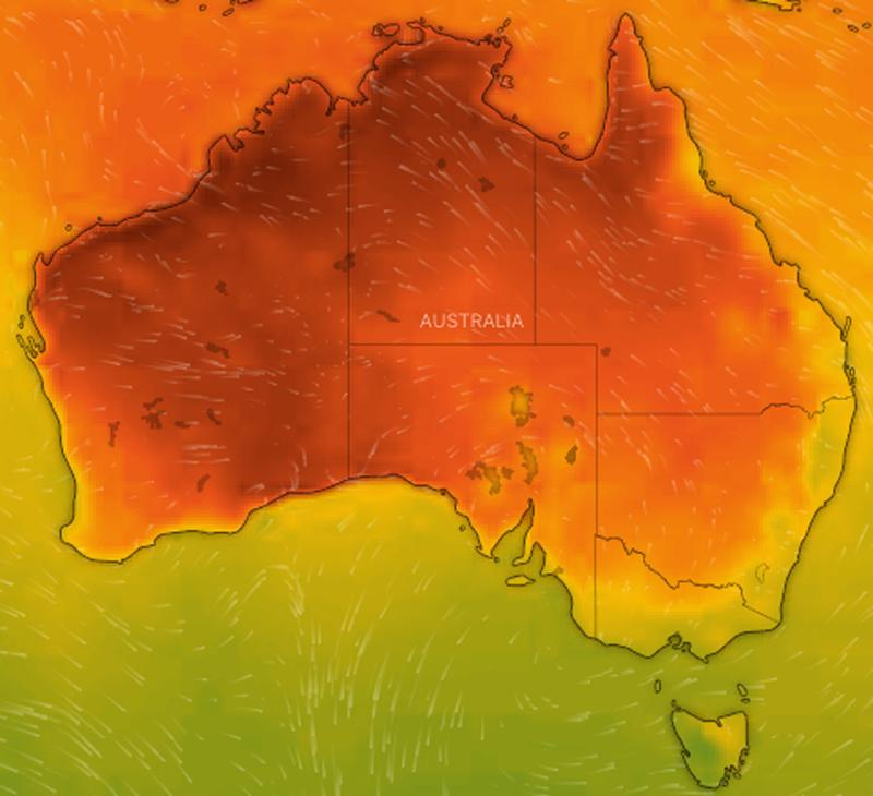 A weather map of Australia showing the forecast heat.