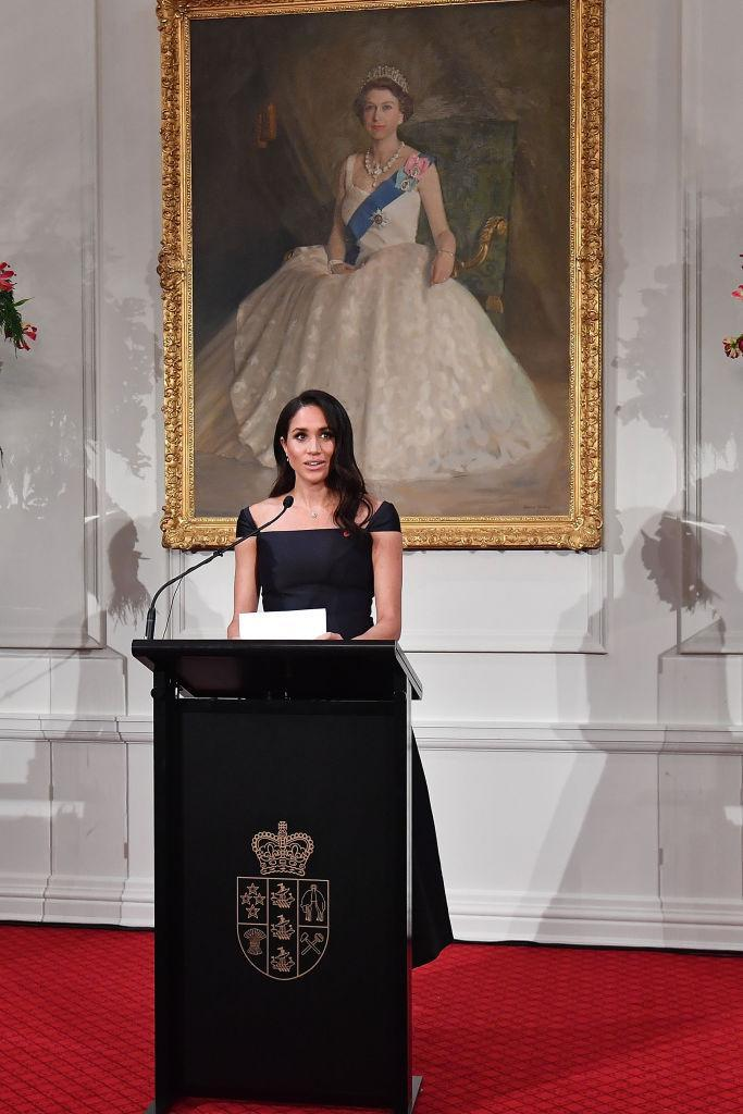 <p>For a feminist speech at Government House, the Duchess of Sussex once again turned to sustainable designer Gabriela Hearst in a bespoke black dress. <em>[Photo: Getty]</em> </p>