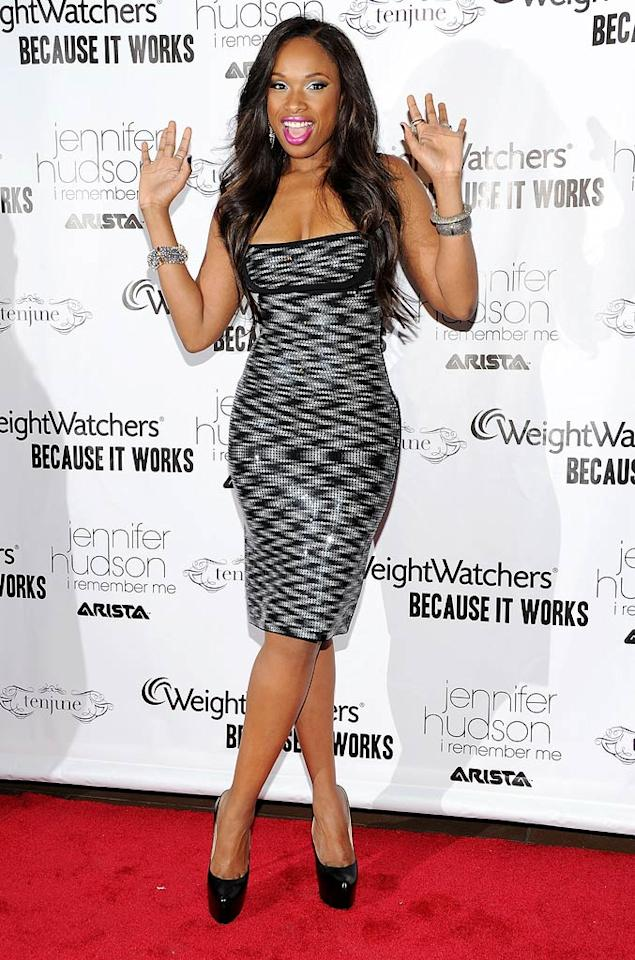 """Fellow diva Jennifer Hudson was all smiles upon arriving at her album release party at NYC's Tenjune in a sequined Herve Leger by Max Azria dress, Christian Louboutin platform pumps, and diamond bracelets. The Grammy winner's record, """"I Remember Me,"""" -- which debuted at no. 2 on the <i>Billboard</i> 200 -- is available online and in stores. Jason Kempin/<a href=""""http://www.gettyimages.com/"""" target=""""new"""">GettyImages.com</a> - March 21, 2011"""