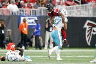 <p>Atlanta Falcons wide receiver Taylor Gabriel (18) is carried by Miami Dolphins middle linebacker Kiko Alonso (47) in the fourth quarter at Mercedes-Benz Stadium. Mandatory Credit: Brett Davis-USA TODAY Sports </p>