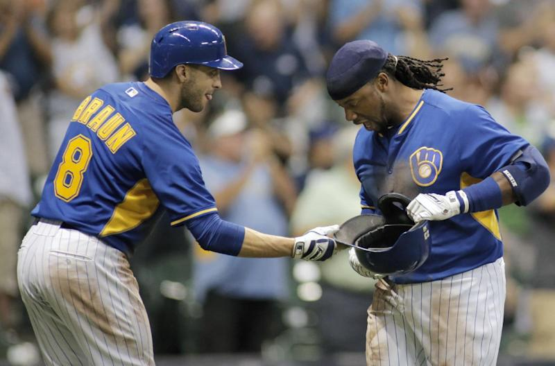 Weeks leads Brewers over Dodgers 9-3