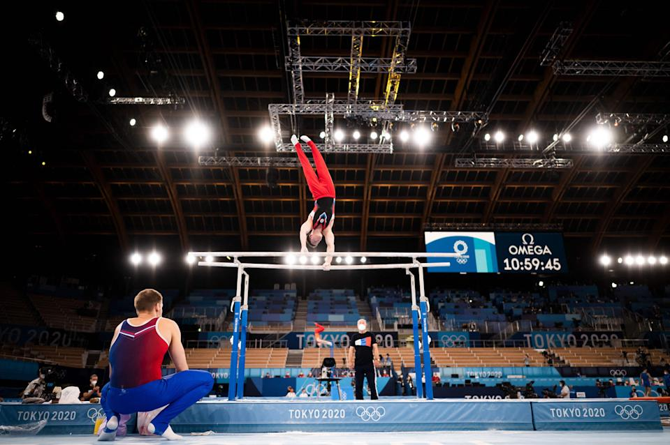 A Russian gymnast takes part in a training session at the Ariake Gymnastics Centre in Tokyo (Getty)