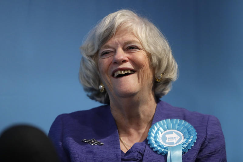 Ann Widdecombe, Brexit Party member, is interviewed after Nigel Farage, Leader of Britain's Brexit Party, spoke on stage at the launch of their policies for the General Election campaign, in London, Friday, Nov. 22, 2019. Britain goes to the polls on Dec. 12. (AP Photo/Kirsty Wigglesworth)