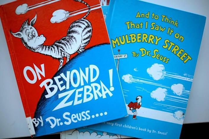 """Books by Theodor Seuss Geisel, aka Dr. Seuss, including """"On Beyond Zebra!"""" and """"And to Think That I Saw it on Mulberry Street,"""""""