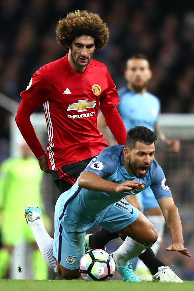 EMBED ONLY: Marouane Fellaini Manchester United Sergio Aguero Manchester City