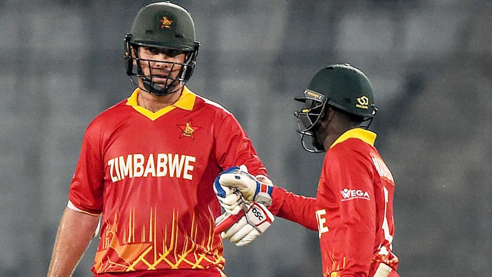 Brendan Taylor and Wesley Madhevere, pictured here in action for Zimbabwe in March.