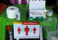 Face masks at a polling station in La Paz during Bolivia's general election